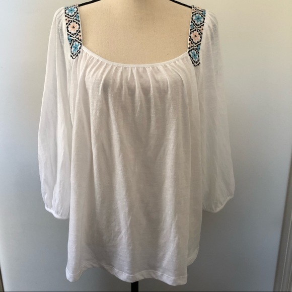Lucky Brand Tops - Lucky Brand white blouse with embroidery Size XL
